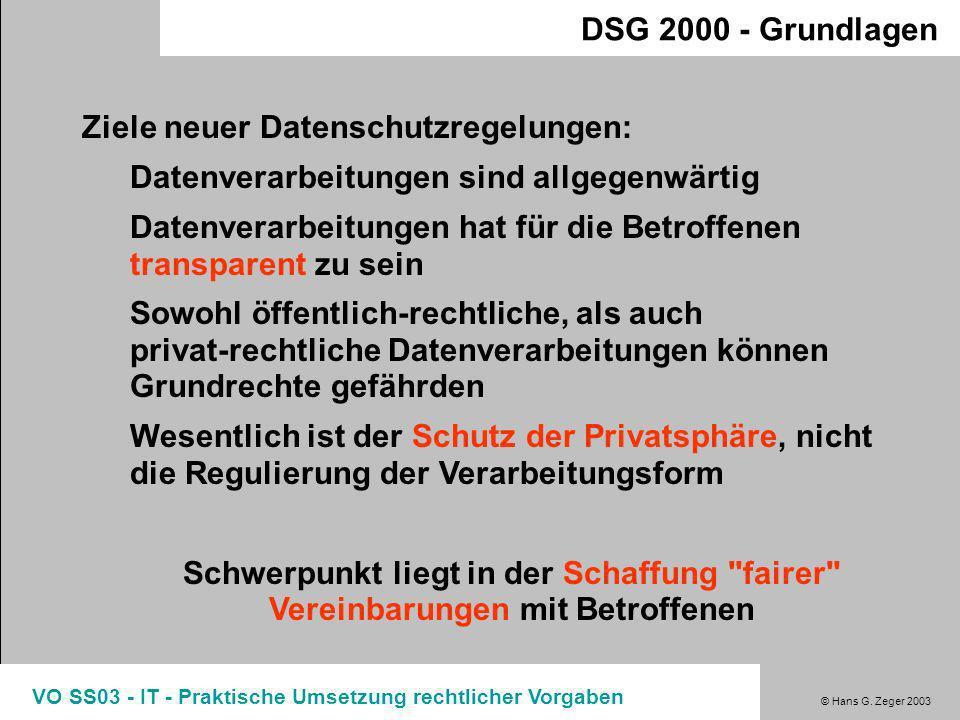© Hans G. Zeger 2003 VO SS03 - IT - Praktische Umsetzung rechtlicher Vorgaben DSG 2000 - Grundlagen Umsetzung der EU-Richtlinie