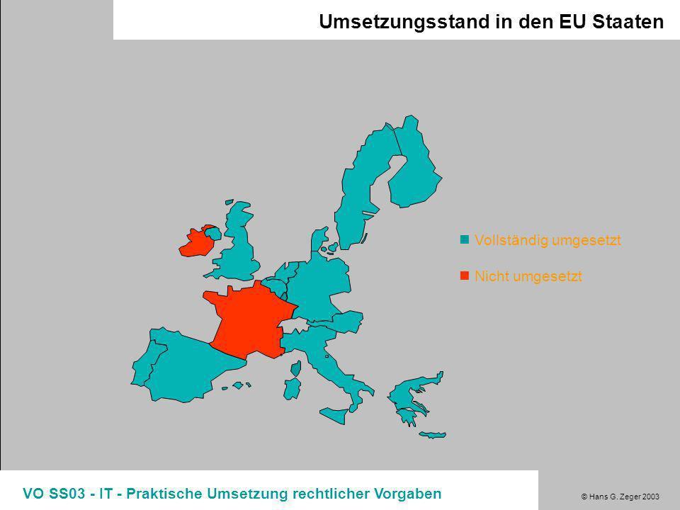 © Hans G. Zeger 2003 VO SS03 - IT - Praktische Umsetzung rechtlicher Vorgaben DSG 2000 - Grundlagen Ziele neuer Datenschutzregelungen: Datenverarbeitu