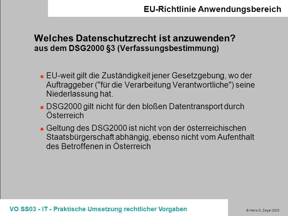 © Hans G. Zeger 2003 VO SS03 - IT - Praktische Umsetzung rechtlicher Vorgaben Umsetzungsstand in den EU Staaten Vollständig umgesetzt Nicht umgesetzt