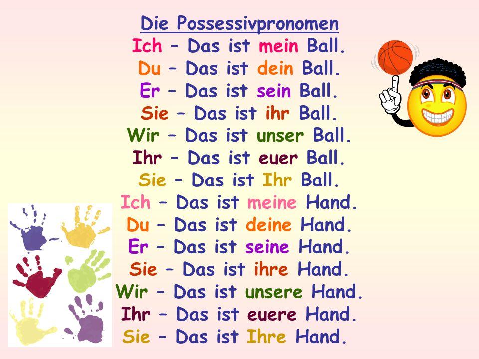 Die Possessivpronomen Ich – Das ist mein Ball.Du – Das ist dein Ball.