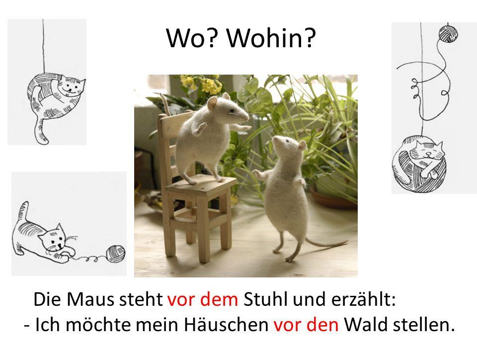 Wo? Wohin? Die Maus steht vor dem Stuhl und erzählt: - Ich möchte mein Häuschen vor den Wald stellen.