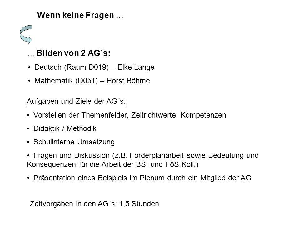 Wenn keine Fragen...... Bilden von 2 AG´s: Deutsch (Raum D019) – Elke Lange Mathematik (D051) – Horst Böhme Zeitvorgaben in den AG´s: 1,5 Stunden Aufg