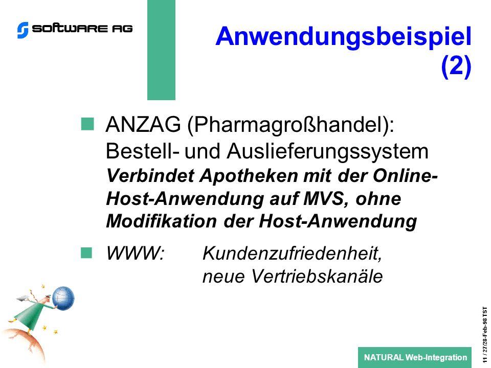 NATURAL Web-Integration 11 / 27/28-Feb-98 TST Anwendungsbeispiel (2) ANZAG (Pharmagroßhandel): Bestell- und Auslieferungssystem Verbindet Apotheken mit der Online- Host-Anwendung auf MVS, ohne Modifikation der Host-Anwendung WWW: Kundenzufriedenheit, neue Vertriebskanäle