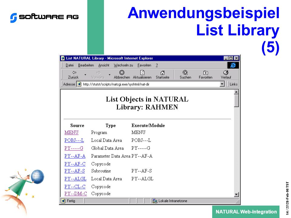 NATURAL Web-Integration 14 / 27/28-Feb-98 TST Anwendungsbeispiel List Library (5)