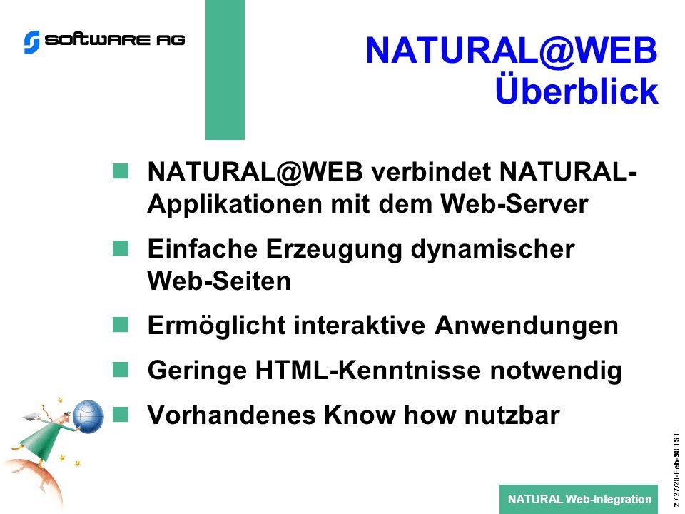 NATURAL Web-Integration 3 / 27/28-Feb-98 TST NATURAL@WEB Architektur (1) NATURAL bzw.