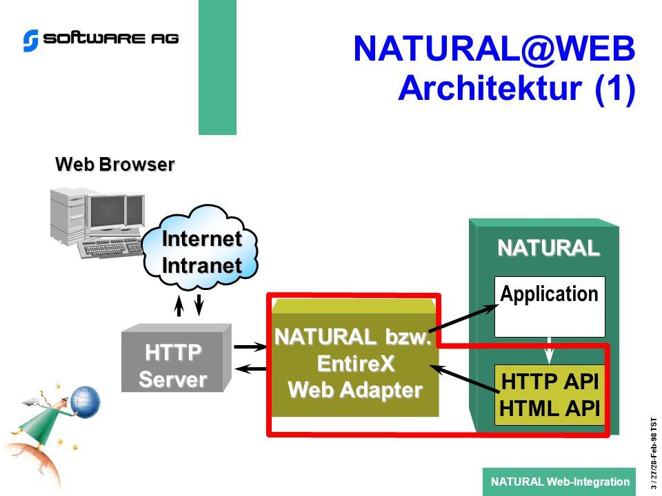 NATURAL Web-Integration 4 / 27/28-Feb-98 TST NATURAL@WEB Architektur (2) ENTIRE BROKER RPC/DCOM WEB Adapter ist eine Verbindung zwischen dem HTTP-Server und ENTIRE BROKER Erster Adapter basiert auf CGI (Common Gateway Interface) Adapter für ISAPI und NSAPI ist in Vorbereitung DCOM-Schnittstelle über NaturalX wird folgen