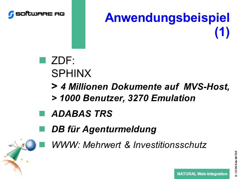 NATURAL Web-Integration 8 / 27/28-Feb-98 TST Anwendungsbeispiel (1) ZDF: SPHINX > 4 Millionen Dokumente auf MVS-Host, > 1000 Benutzer, 3270 Emulation ADABAS TRS DB für Agenturmeldung WWW: Mehrwert & Investitionsschutz