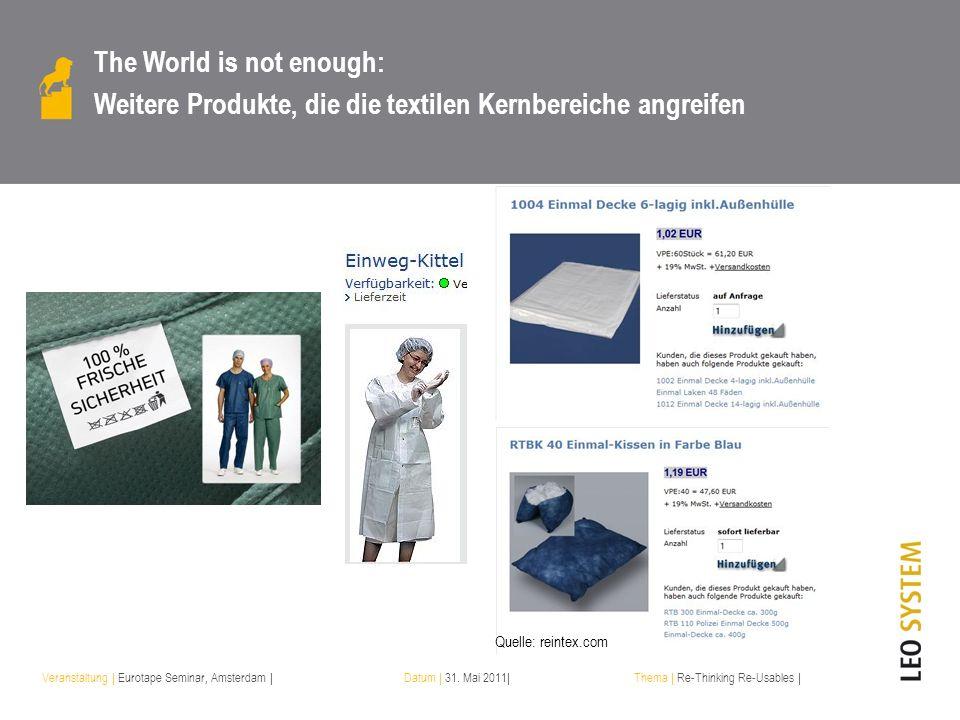 Veranstaltung | Eurotape Seminar, Amsterdam |Datum | 31. Mai 2011|Thema | Re-Thinking Re-Usables | The World is not enough: Weitere Produkte, die die