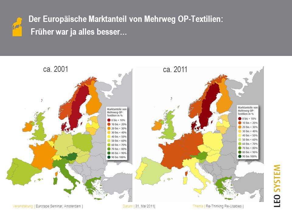 Veranstaltung | Eurotape Seminar, Amsterdam |Datum | 31. Mai 2011|Thema | Re-Thinking Re-Usables | Der Europäische Marktanteil von Mehrweg OP-Textilie