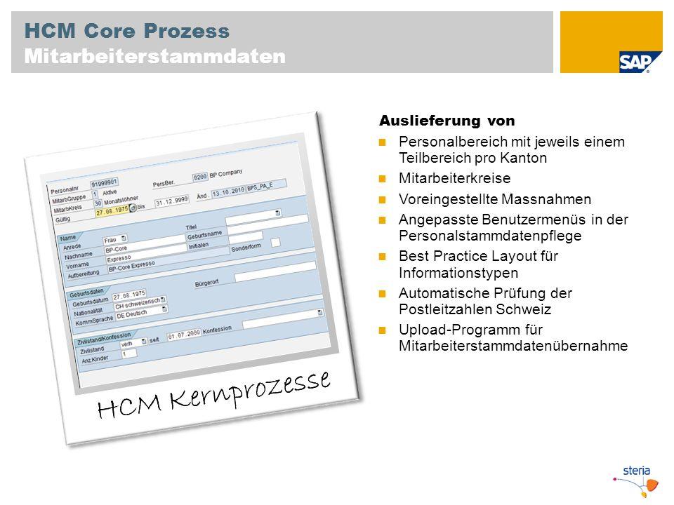 HCM Core Prozess Mitarbeiterstammdaten Auslieferung von Personalbereich mit jeweils einem Teilbereich pro Kanton Mitarbeiterkreise Voreingestellte Mas