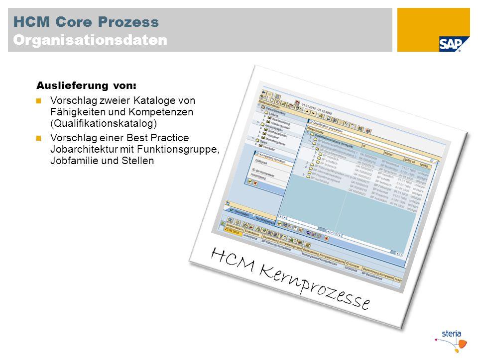 HCM Core Prozess Organisationsdaten HCM Kernprozesse Auslieferung von: Vorschlag zweier Kataloge von Fähigkeiten und Kompetenzen (Qualifikationskatalo