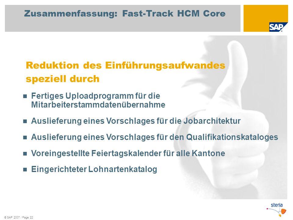 © SAP 2007 / Page 22 Zusammenfassung: Fast-Track HCM Core Reduktion des Einführungsaufwandes speziell durch Fertiges Uploadprogramm für die Mitarbeite