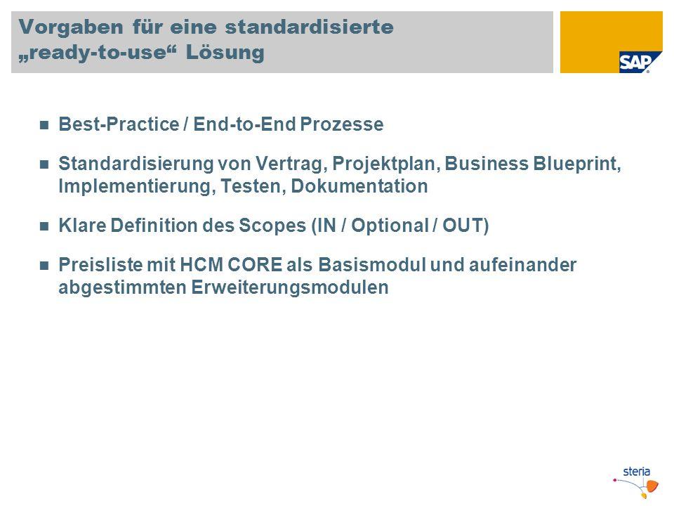 Vorgaben für eine standardisierte ready-to-use Lösung Best-Practice / End-to-End Prozesse Standardisierung von Vertrag, Projektplan, Business Blueprin