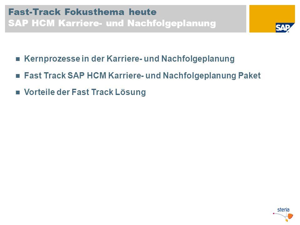 Fast-Track Fokusthema heute SAP HCM Karriere- und Nachfolgeplanung Kernprozesse in der Karriere- und Nachfolgeplanung Fast Track SAP HCM Karriere- und