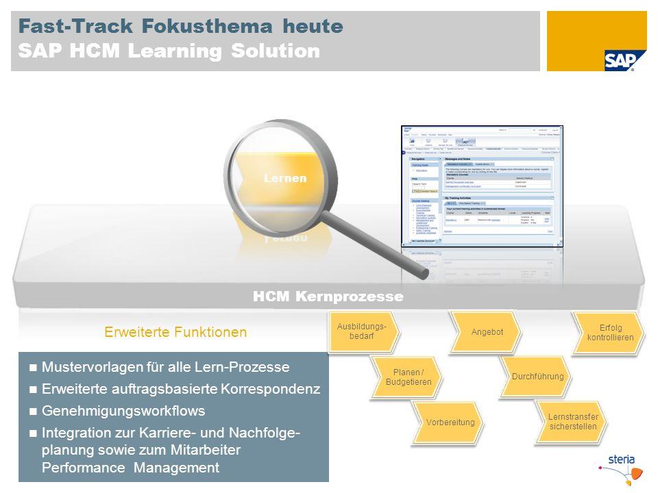 Fast-Track Fokusthema heute SAP HCM Learning Solution HCM Kernprozesse Mustervorlagen für alle Lern-Prozesse Erweiterte auftragsbasierte Korrespondenz