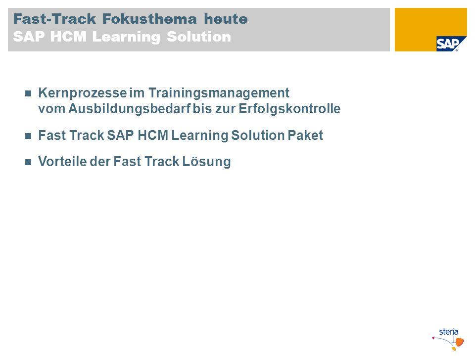 Fast-Track Fokusthema heute SAP HCM Learning Solution Kernprozesse im Trainingsmanagement vom Ausbildungsbedarf bis zur Erfolgskontrolle Fast Track SA