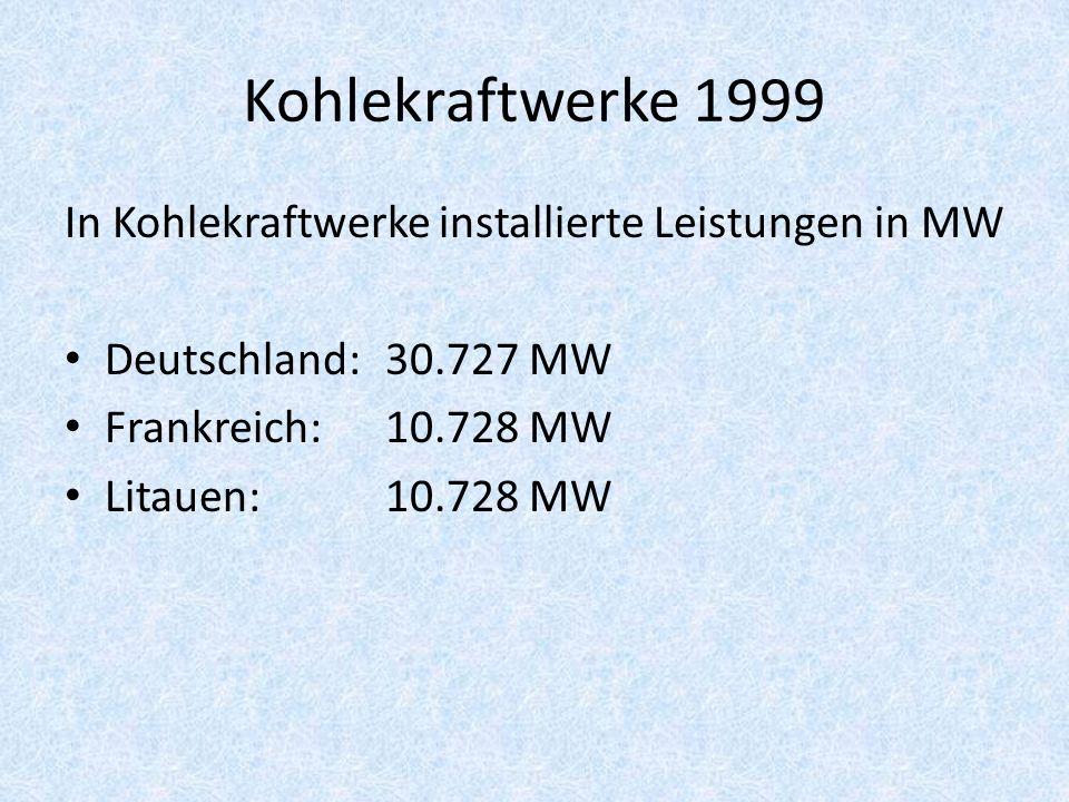 Kohlekraftwerke 1999 In Kohlekraftwerke installierte Leistungen in MW Deutschland: 30.727 MW Frankreich: 10.728 MW Litauen: 10.728 MW