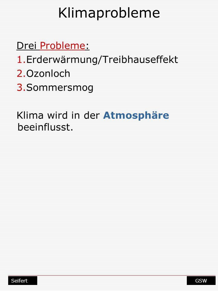 GSWSeifert Klimaprobleme Drei Probleme: 1.Erderwärmung/Treibhauseffekt 2.Ozonloch 3.Sommersmog Klima wird in der Atmosphäre beeinflusst.