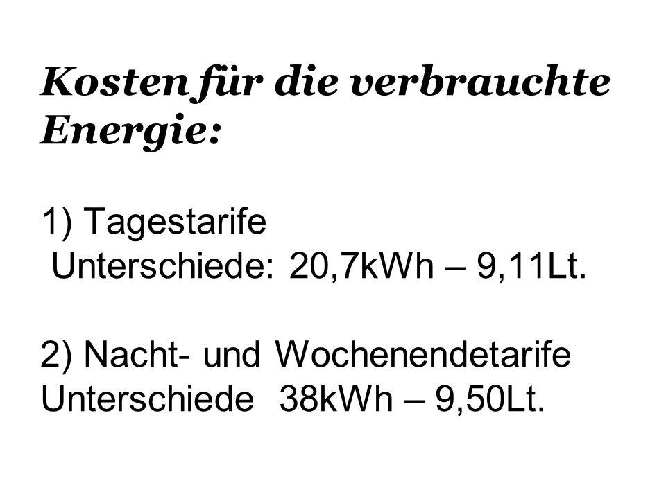 Kosten für die verbrauchte Energie: 1) Tagestarife Unterschiede: 20,7kWh – 9,11Lt. 2) Nacht- und Wochenendetarife Unterschiede 38kWh – 9,50Lt.