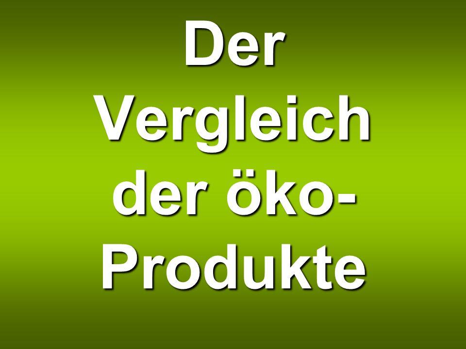 Der Vergleich der öko- Produkte