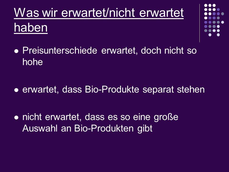Was wir erwartet/nicht erwartet haben Preisunterschiede erwartet, doch nicht so hohe erwartet, dass Bio-Produkte separat stehen nicht erwartet, dass e