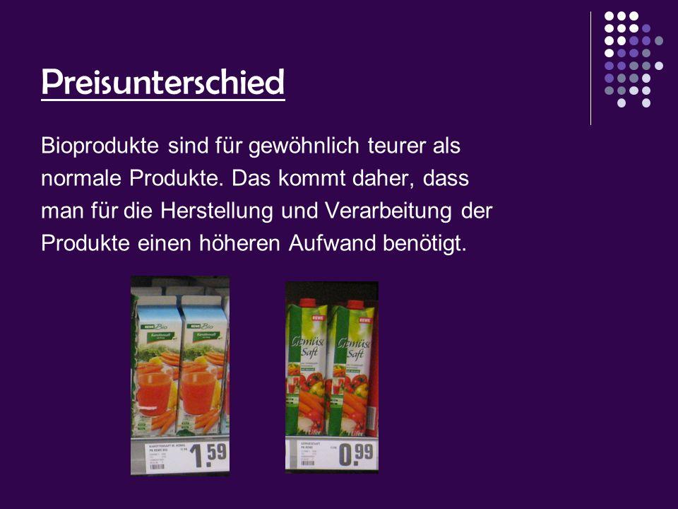 Preisunterschied Bioprodukte sind für gewöhnlich teurer als normale Produkte. Das kommt daher, dass man für die Herstellung und Verarbeitung der Produ