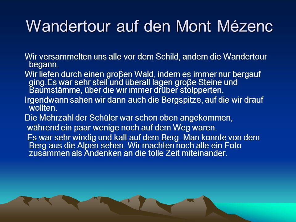 Wandertour auf den Mont Mézenc Wir versammelten uns alle vor dem Schild, andem die Wandertour begann. Wir liefen durch einen groβen Wald, indem es imm