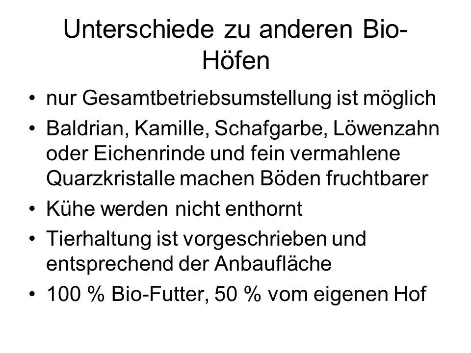 Unterschiede zu anderen Bio- Höfen nur Gesamtbetriebsumstellung ist möglich Baldrian, Kamille, Schafgarbe, Löwenzahn oder Eichenrinde und fein vermahl