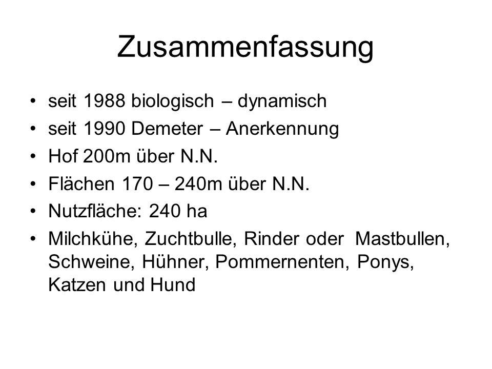 Zusammenfassung seit 1988 biologisch – dynamisch seit 1990 Demeter – Anerkennung Hof 200m über N.N. Flächen 170 – 240m über N.N. Nutzfläche: 240 ha Mi