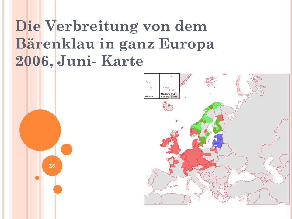 Die Verbreitung von dem Bärenklau in ganz Europa 2006, Juni- Karte 23