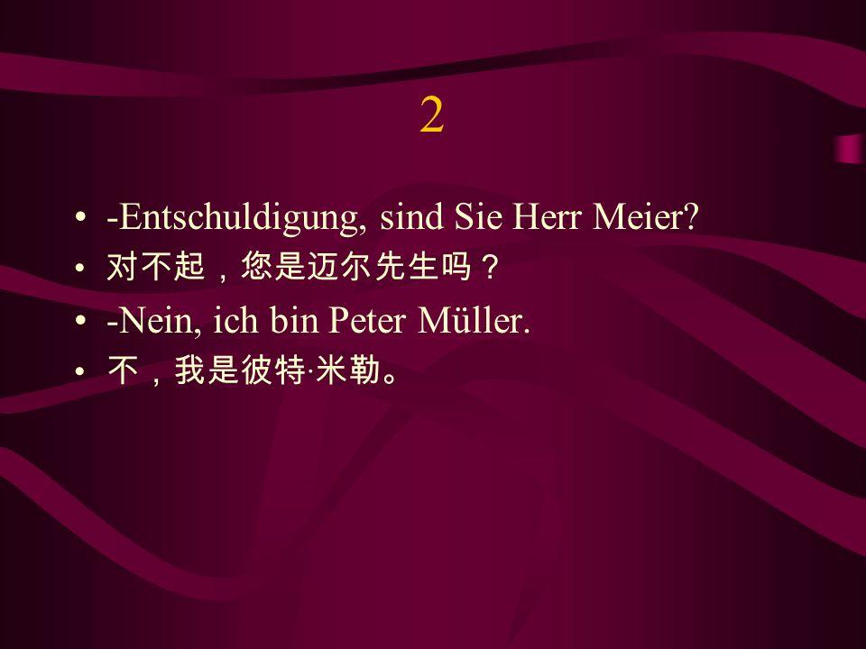 2 -Entschuldigung, sind Sie Herr Meier? -Nein, ich bin Peter Müller. ·