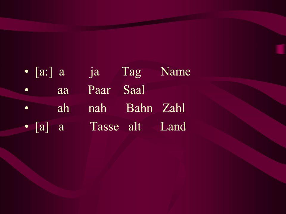 [a:] a ja Tag Name aa Paar Saal ah nah Bahn Zahl [a] a Tasse alt Land