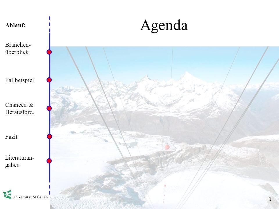 Ablauf: 1 Agenda Branchen- überblick Fallbeispiel Chancen & Herausford. Fazit Literaturan- gaben