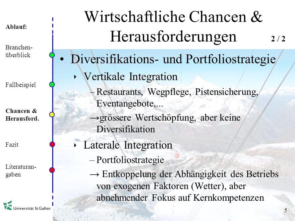 Ablauf: 5 Wirtschaftliche Chancen & Herausforderungen Diversifikations- und Portfoliostrategie Vertikale Integration –Restaurants, Wegpflege, Pistensicherung, Eventangebote,...