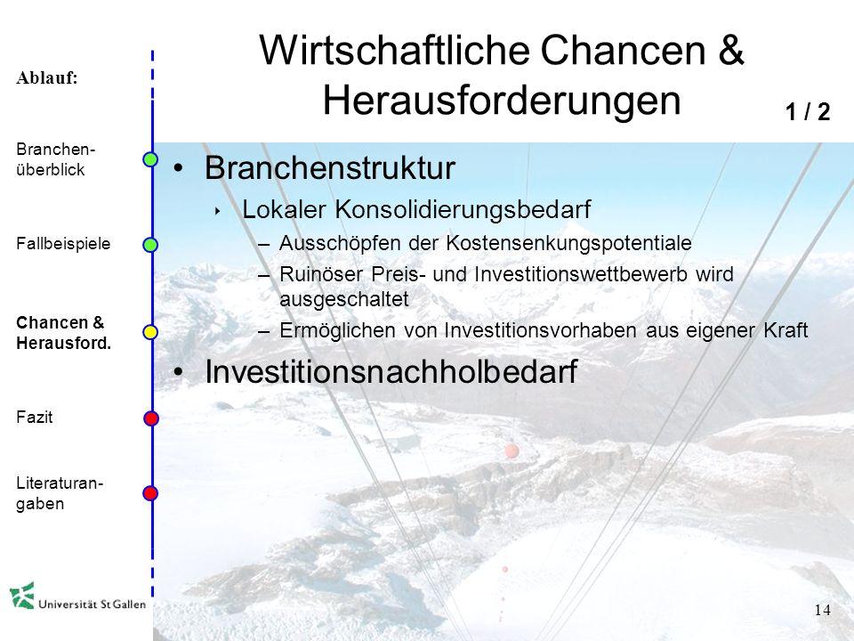 Ablauf: 13 Fallbeispiel Fusion von 4 Bergbahnen Bergbahnunternehmen der CH-Top 6 entsteht Ziel: Umsätze und Auslastung steigern, Einsparungen, Investi
