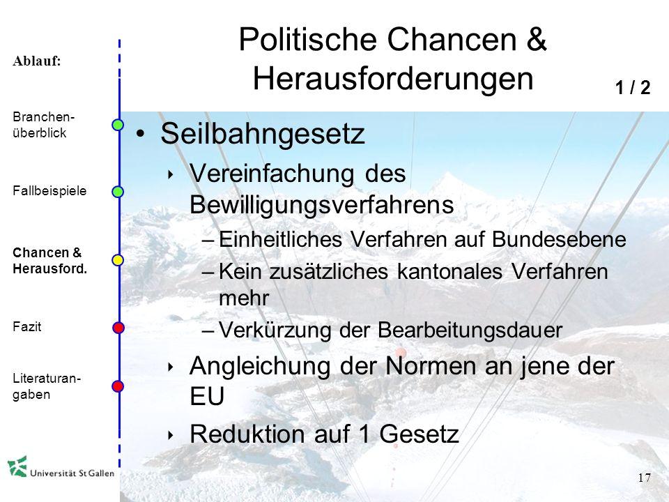 Ablauf: 16 Ökologische Chancen & Herausforderungen Klimawandel Abnahme der Wintersporttage, aufgrund Rückgang der Schneegrenze Ausrichtung auf Winters