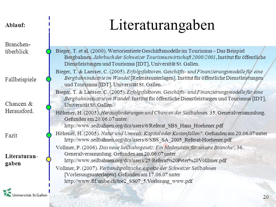 Ablauf: 19 Fazit Kritische Branchenstruktur Konsolidierung (s.