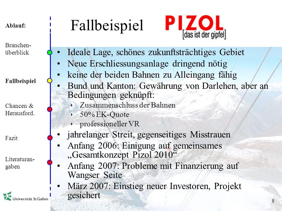 Ablauf: 7 Zahlen und Fakten der Seilbahnen in der Schweiz Branchen- überblick Fallbeispiele Chancen & Herausford.