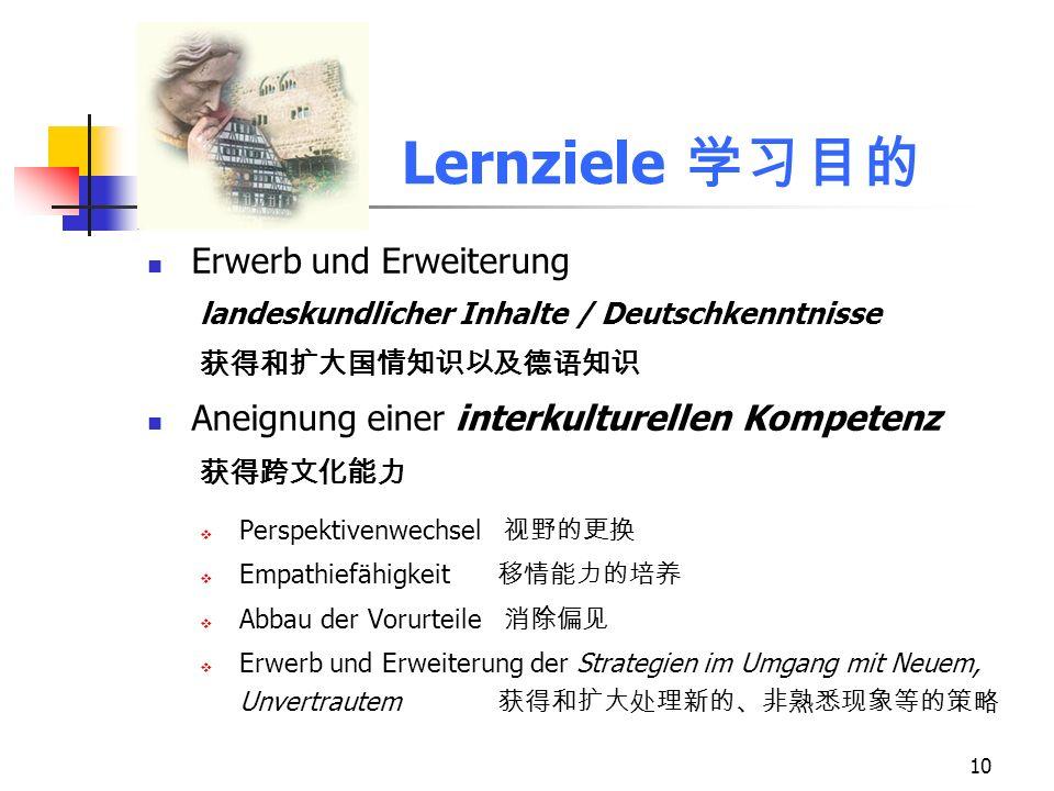 10 Lernziele Erwerb und Erweiterung landeskundlicher Inhalte / Deutschkenntnisse Aneignung einer interkulturellen Kompetenz Perspektivenwechsel Empath