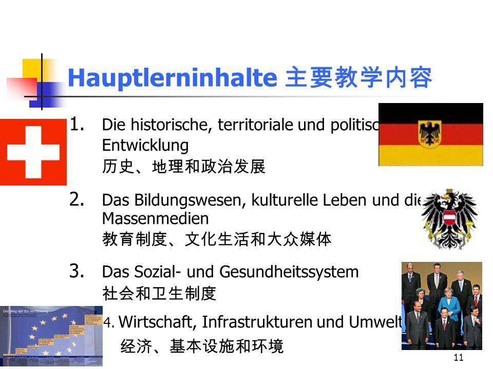11 Hauptlerninhalte 1. Die historische, territoriale und politische Entwicklung 2. Das Bildungswesen, kulturelle Leben und die Massenmedien 3. Das Soz