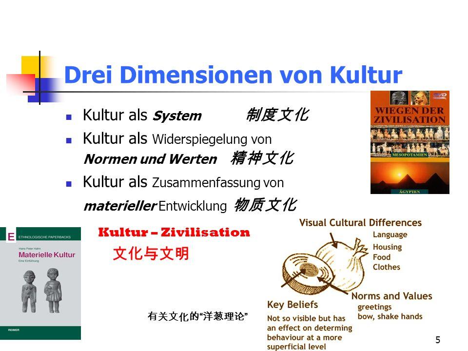 5 Drei Dimensionen von Kultur Kultur als System Kultur als Widerspiegelung von Normen und Werten Kultur als Zusammenfassung von materieller Entwicklung Kultur – Zivilisation