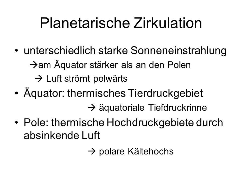 Planetarische Zirkulation Tropopause liegt in den ropen höher als an den Polen Luftdruckgegensätze abströmen der Luft aus der Höhe vom Äquatorbereich polwärts Entstehung der Westwinde in den gemäßigten Breiten Corioliskraft