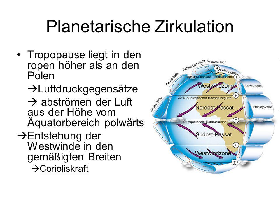 Planetarische Zirkulation Tropopause liegt in den ropen höher als an den Polen Luftdruckgegensätze abströmen der Luft aus der Höhe vom Äquatorbereich