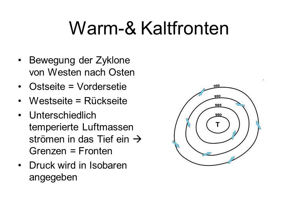 Warm-& Kaltfronten Warmfront: warme Luft stößt auf kalte Luft zieht Warmluft hinter sich her Kaltfront: kalte Luft stößt auf warme Luft zieht Kaltluft hinter sich her Der dazwischen liegende Bereich Warmluftsektor