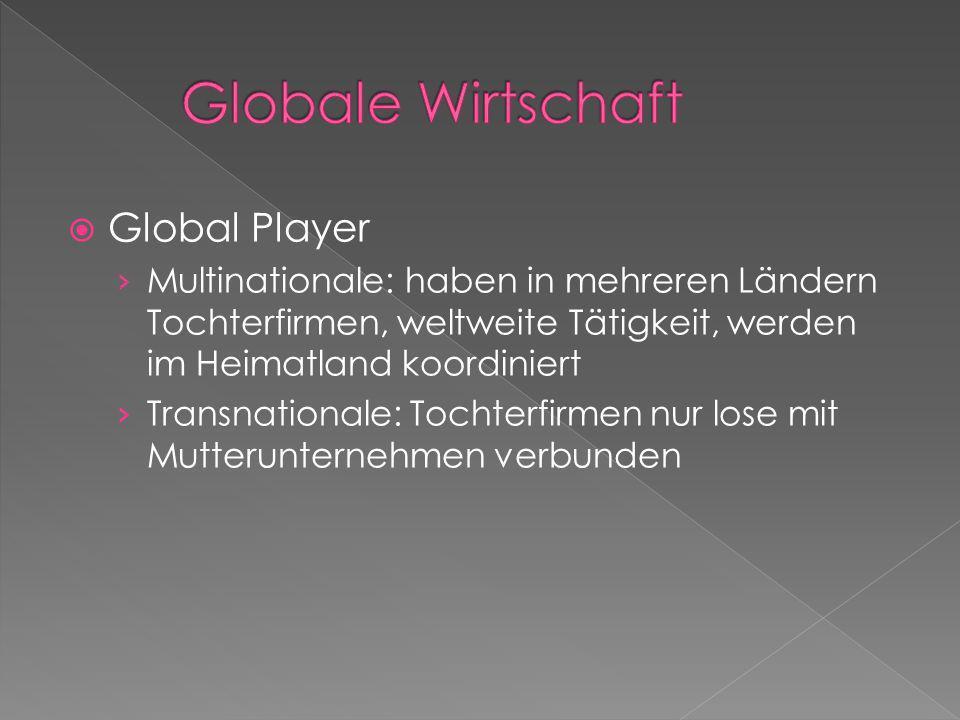 Global Player Multinationale: haben in mehreren Ländern Tochterfirmen, weltweite Tätigkeit, werden im Heimatland koordiniert Transnationale: Tochterfi