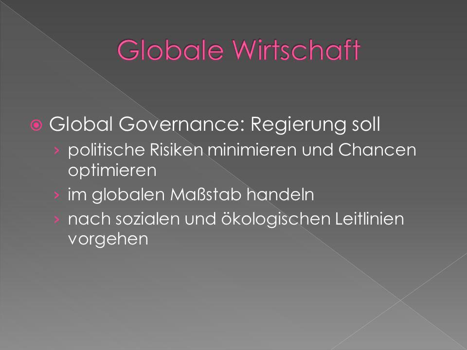 Global Governance: Regierung soll politische Risiken minimieren und Chancen optimieren im globalen Maßstab handeln nach sozialen und ökologischen Leit