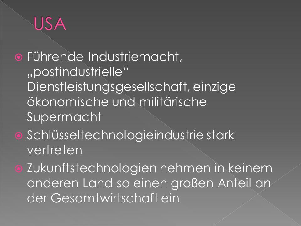 Führende Industriemacht, postindustrielle Dienstleistungsgesellschaft, einzige ökonomische und militärische Supermacht Schlüsseltechnologieindustrie s