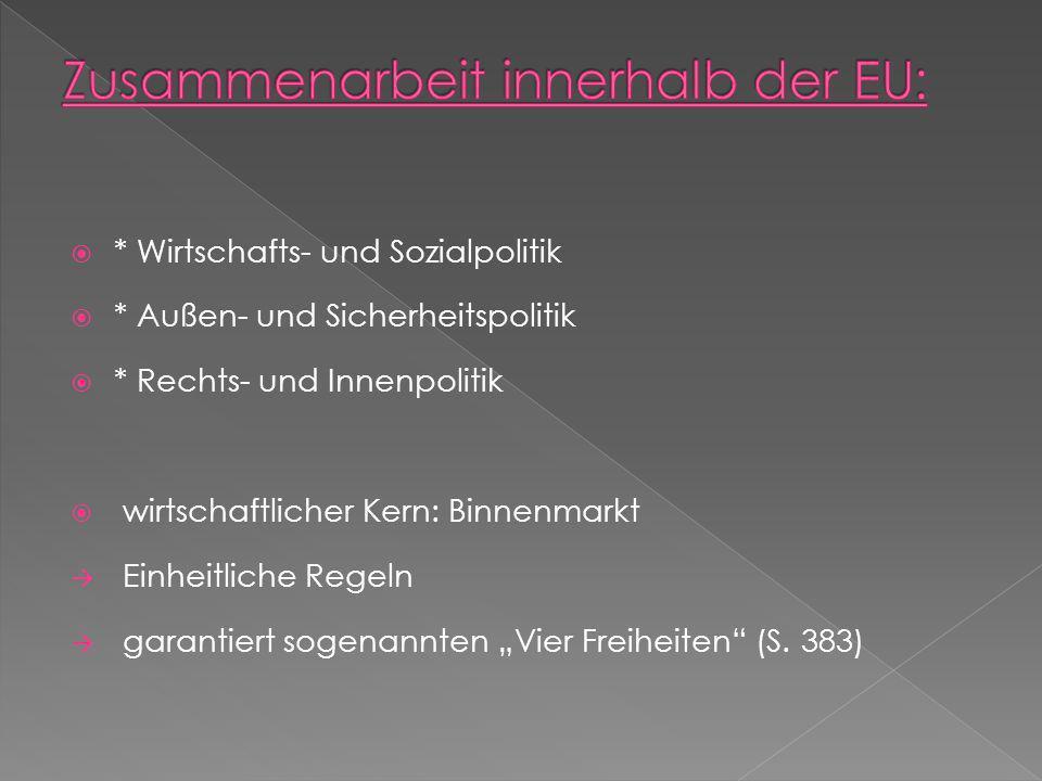 * Wirtschafts- und Sozialpolitik * Außen- und Sicherheitspolitik * Rechts- und Innenpolitik wirtschaftlicher Kern: Binnenmarkt Einheitliche Regeln gar
