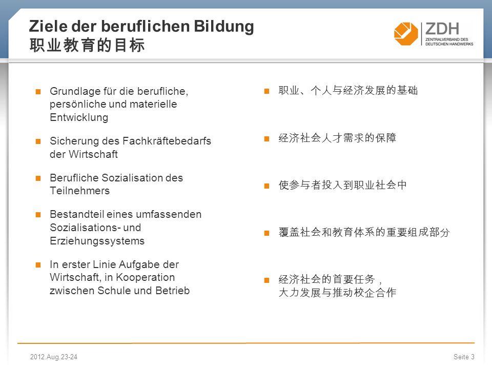 Seite 3 Ziele der beruflichen Bildung Grundlage für die berufliche, persönliche und materielle Entwicklung Sicherung des Fachkräftebedarfs der Wirtsch