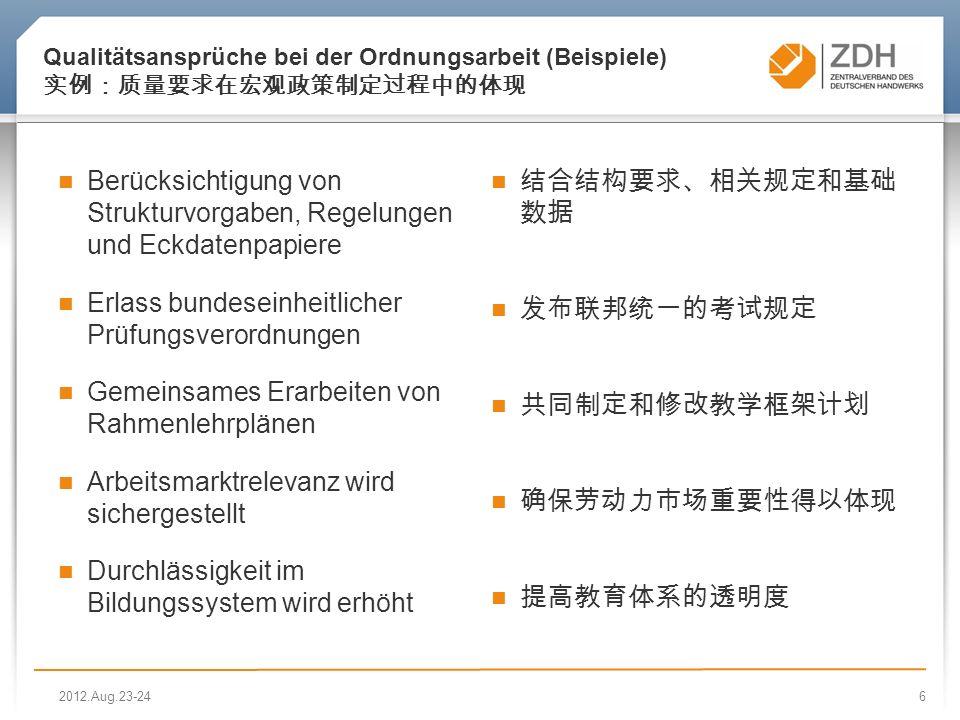 6 Qualitätsansprüche bei der Ordnungsarbeit (Beispiele) Berücksichtigung von Strukturvorgaben, Regelungen und Eckdatenpapiere Erlass bundeseinheitlicher Prüfungsverordnungen Gemeinsames Erarbeiten von Rahmenlehrplänen Arbeitsmarktrelevanz wird sichergestellt Durchlässigkeit im Bildungssystem wird erhöht 2012.Aug.23-24